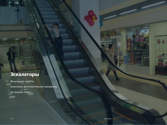 Estimation Эскалаторы Вынуждают пройти несколько дополнительных магазинов на каждом этаже
