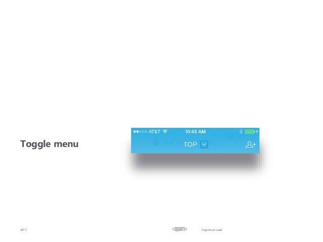 Cognitive Load Toggle menu 2017