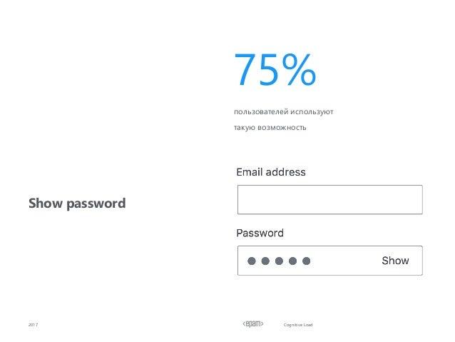 Cognitive Load Show password 2017 пользователей используют такую возможность 75%