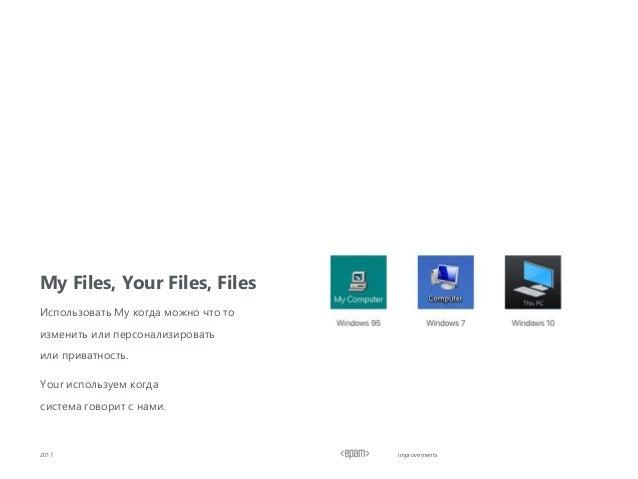 Improvements My Files, Your Files, Files 2017 Использовать My когда можно что то изменить или персонализировать или приват...
