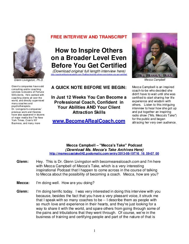 FREE INTERVIEW AND TRANSCRIPT  How to Inspire Others on a Broader Level Even Before You Get Certified (Download original f...