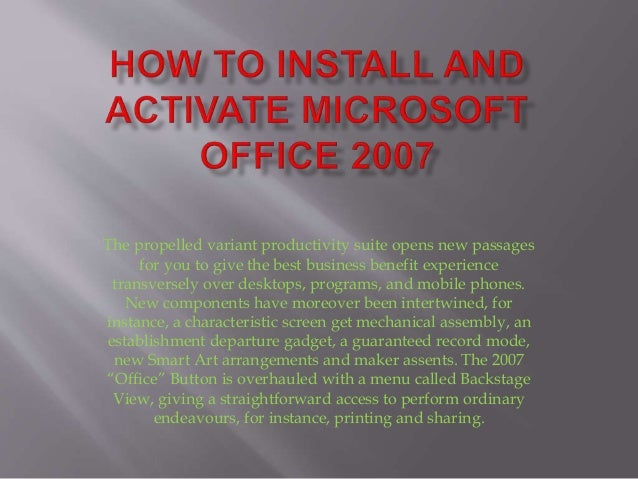 activate microsoft office 2007 by phone