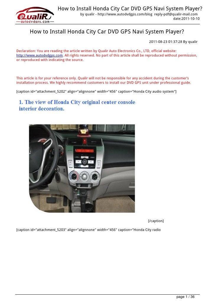 How to Install Honda City Car DVD GPS Navi System Player?                                        by qualir - http://www.au...