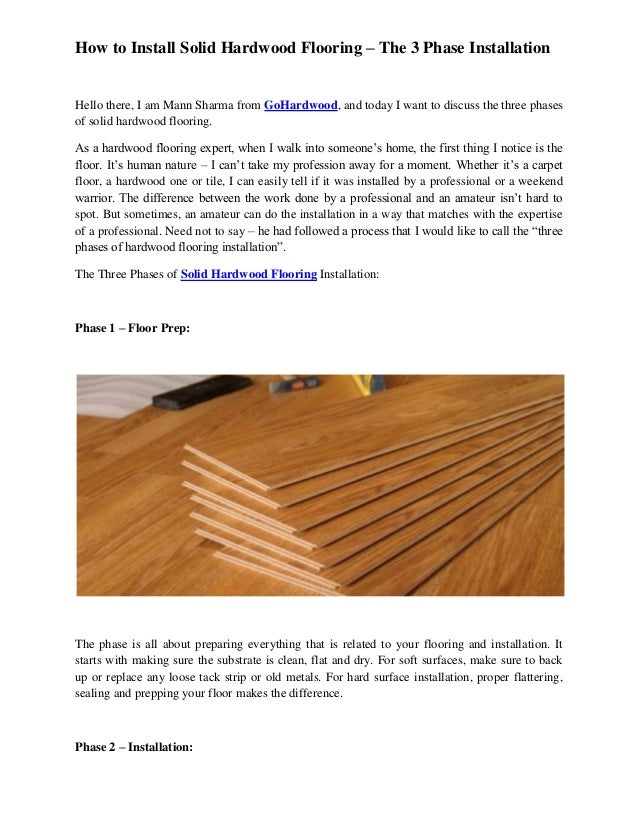 How To Install Solid Hardwood Flooring The 3 Phase Installation Gohar