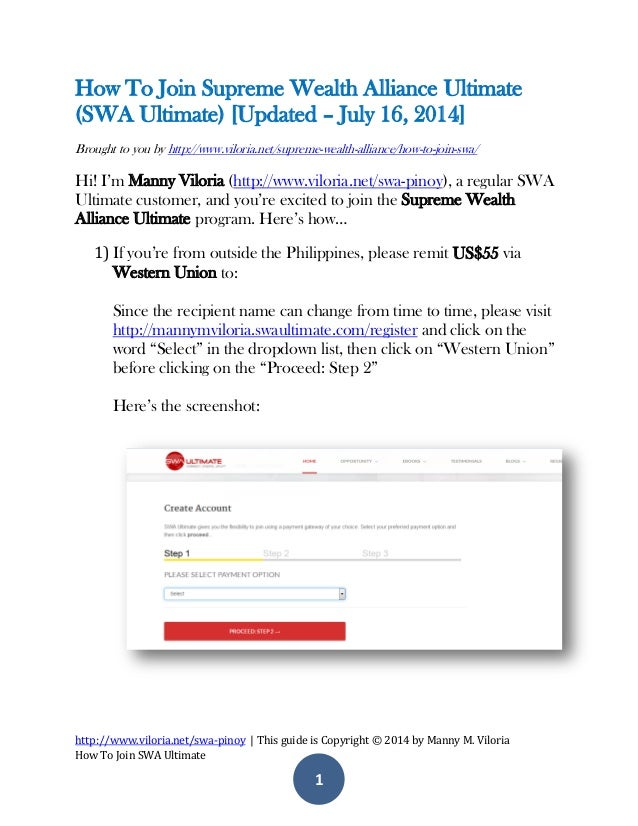 http://www.viloria.net/swa-pinoy | This guide is Copyright © 2014 by Manny M. Viloria How To Join SWA Ultimate 1 How To Jo...