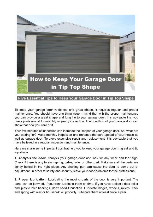 How To Keep Your Garage Door In Tip Top Shape