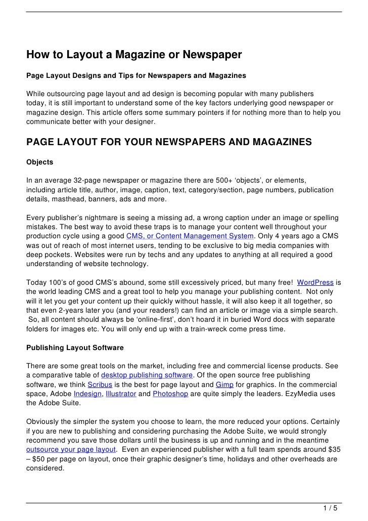 how to layout a magazine or newspaperpage layout designs and tips for newspapers and magazineswhile outsourcing