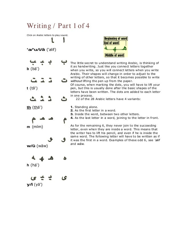 64 Writing Part 1 Of 4 Click On Arabic Letters To Play Sound