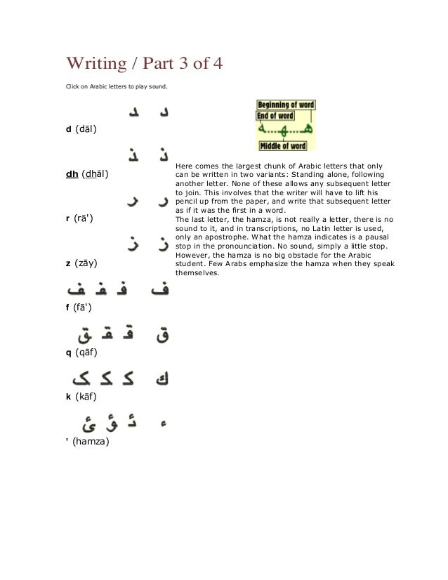 68 Writing Part 3 Of 4 Click On Arabic Letters To Play Sound