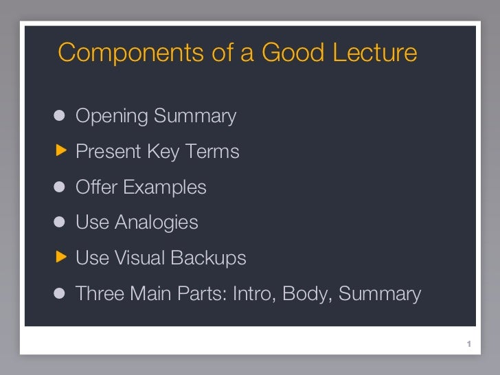 components of a good summary