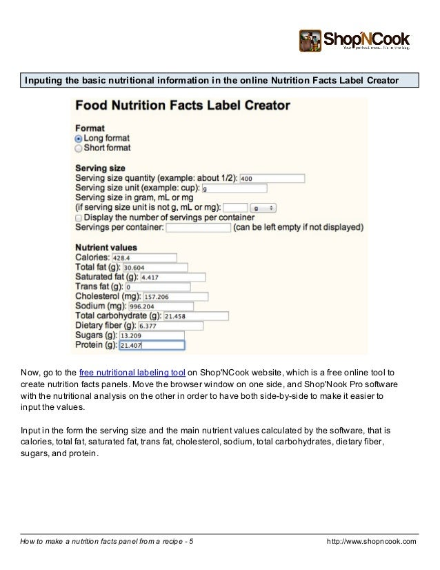 how to make a nutrition facts label from a recipe