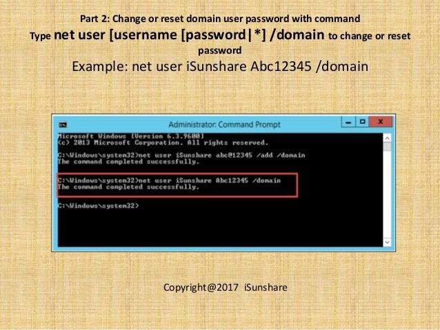 net user command prompt change password
