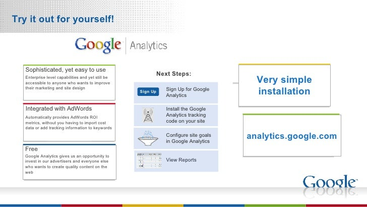 Try it out for yourself! analytics.google.com Very simple installation Automatically provides AdWords ROI metrics, without...