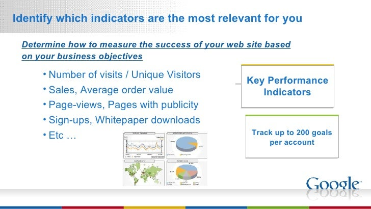 <ul><li>Identify which indicators are the most relevant for you </li></ul>Determine how to measure the success of your web...