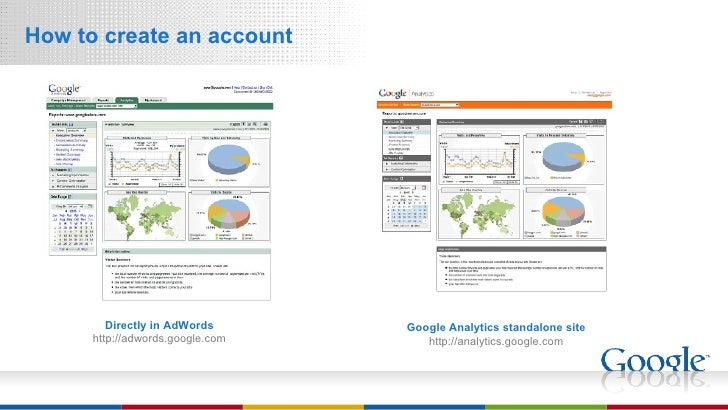 <ul><li>How to create an account </li></ul>Directly in AdWords http://adwords.google.com Google Analytics standalone site ...