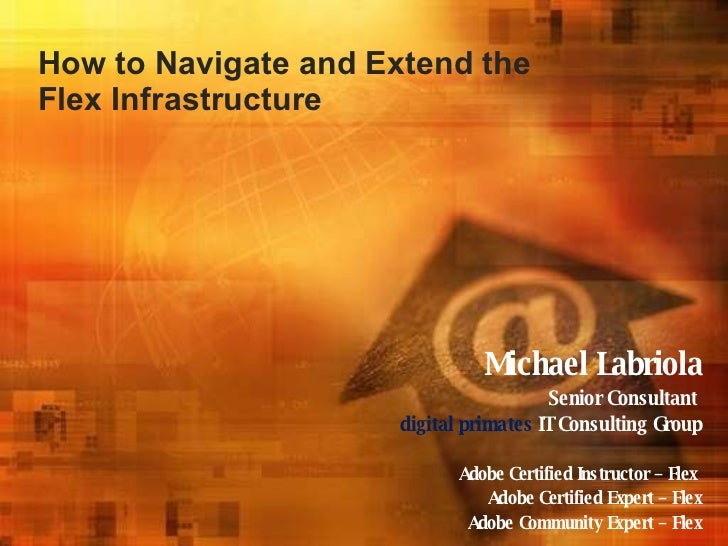 How to Navigate and Extend the Flex Infrastructure Michael Labriola Senior Consultant   digital primates  IT Consulting Gr...