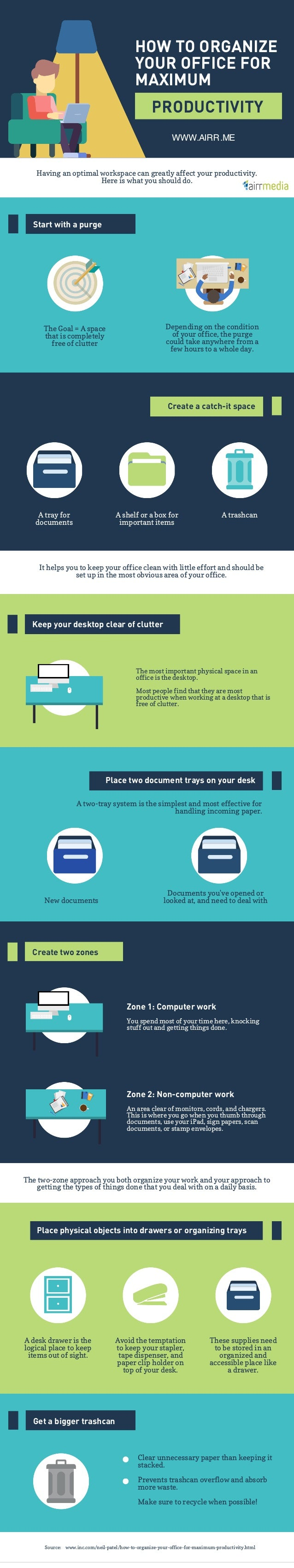 HOW TO ORGANIZE YOUR OFFICE FOR MAXIMUM PRODUCTIVITY Having an optimal workspace can greatly affect your productivity. Her...