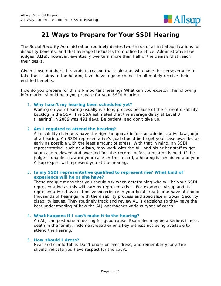 Allsup Special Report21 Ways to Prepare for Your SSDI Hearing          21 Ways to Prepare for Your SSDI HearingThe Social ...