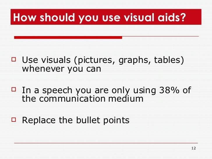 <ul><li>Use visuals (pictures, graphs, tables) whenever you can  </li></ul><ul><li>In a speech you are only using 38% of t...