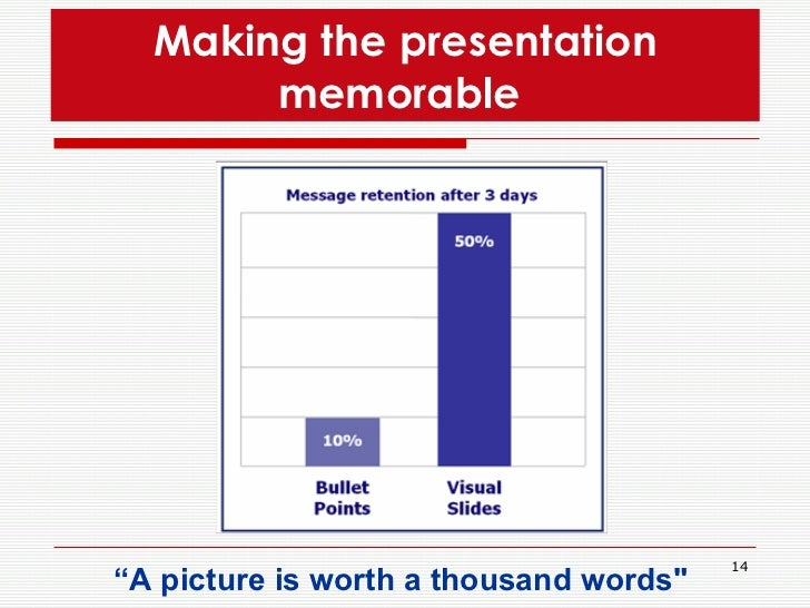 """Making the presentation memorable  <ul><li>"""" A picture is worth a thousand words&quot;   </li></ul>"""