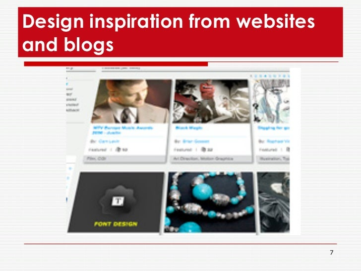 Design inspiration from websites and blogs
