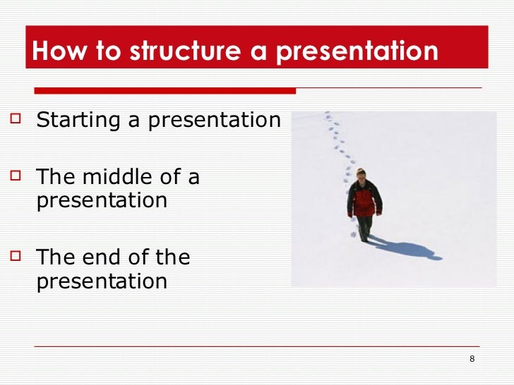 How to structure a presentation  <ul><li>Starting a presentation </li></ul><ul><li>The middle of a presentation  </li></ul...