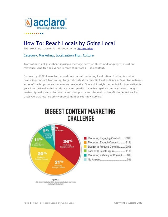 How To: Reach Locals by Going LocalThis article was originally published on the Acclaro blog.Category: Marketing, Localiza...