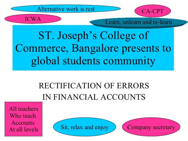 ST. Joseph's College of Commerce, Bangalore presents to global students community RECTIFICATION OF ERRORS IN FINANCIAL ACC...