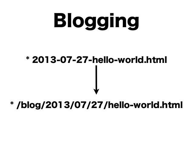 $ bundle exec middleman server $ bundle exec middleman build 開発用のサーバを起動 html 生成