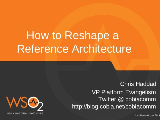 How to Reshape a Reference Architecture Chris Haddad VP Platform Evangelism Twitter @ cobiacomm http://blog.cobia.net/cobi...
