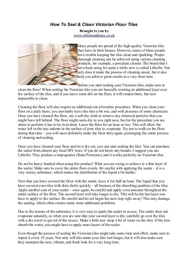 How To Seal And Clean Victorian Floor Tiles