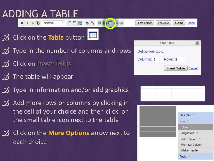 ADDING A TABLE   Click on the Table button  Type in the number of columns and rows  Click on Insert Table  The table w...