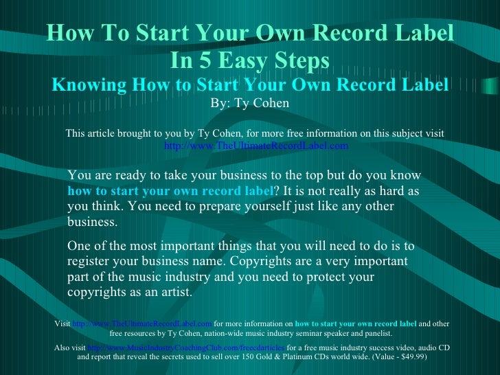 how to make your own record label