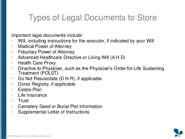 EndofLife Management Workshop Howto Store Your Documents - Types of legal documents