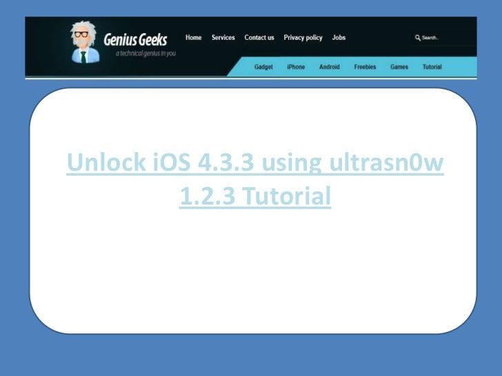 Unlock iOS 4.3.3 using ultrasn0w 1.2.3 Tutorial<br />