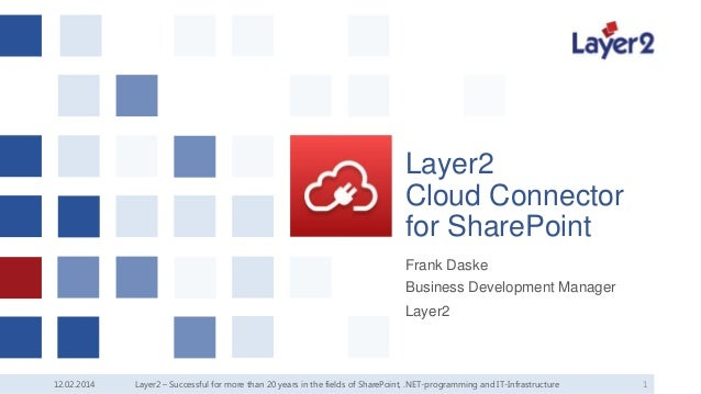 Layer2 Cloud Connector for SharePoint Frank Daske Business Development Manager Layer2  12.02.2014  Layer2 – Successful for...