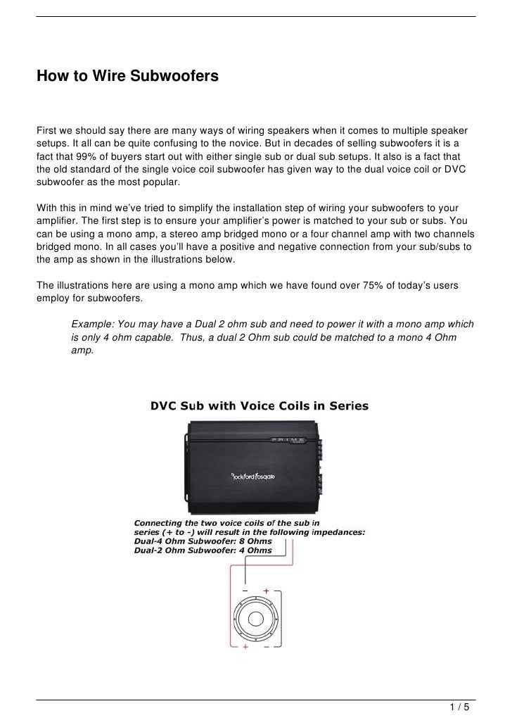 How to Wire Subwoofers