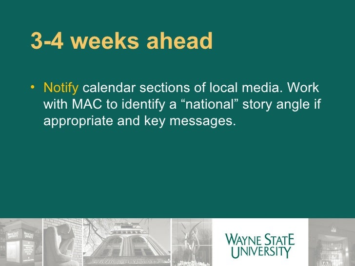 Wayne State Calendar.How To Work With Public Relations