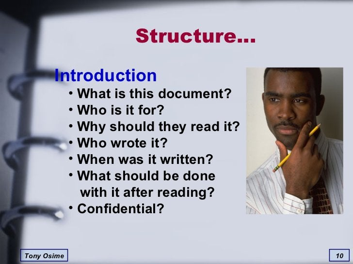 Structure… <ul><li>Introduction </li></ul><ul><ul><li>What is this document? </li></ul></ul><ul><ul><li>Who is it for? </l...