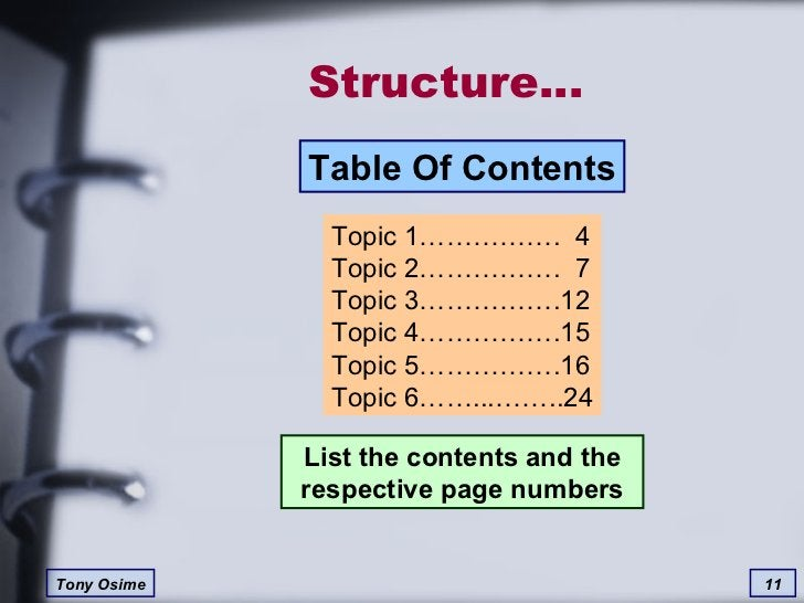 Structure… List the contents and the respective page numbers Topic 1…………….  4 Topic 2…………….  7 Topic 3…………….12 Topic 4…………...