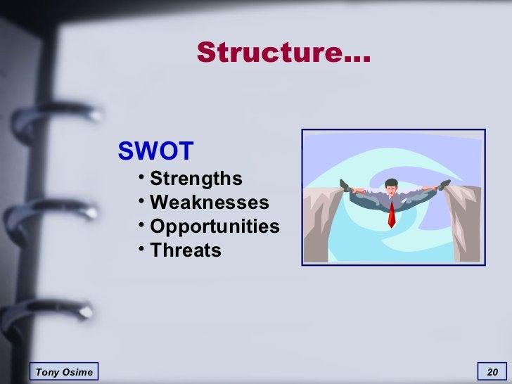 Structure… <ul><li>SWOT </li></ul><ul><ul><li>Strengths </li></ul></ul><ul><ul><li>Weaknesses </li></ul></ul><ul><ul><li>O...