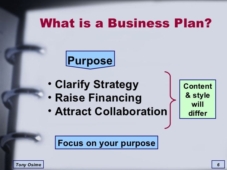 What is a Business Plan? Purpose <ul><li>Clarify Strategy </li></ul><ul><li>Raise Financing </li></ul><ul><li>Attract Coll...