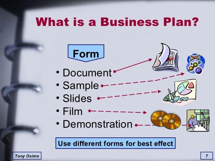 What is a Business Plan? Form <ul><li>Document </li></ul><ul><li>Sample </li></ul><ul><li>Slides </li></ul><ul><li>Film </...