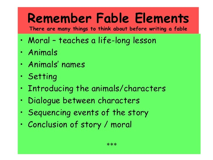 Examples of Fables