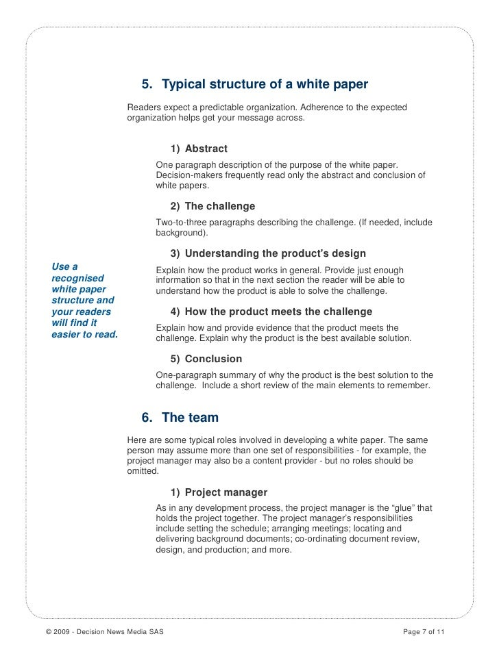 Help writing a white paper