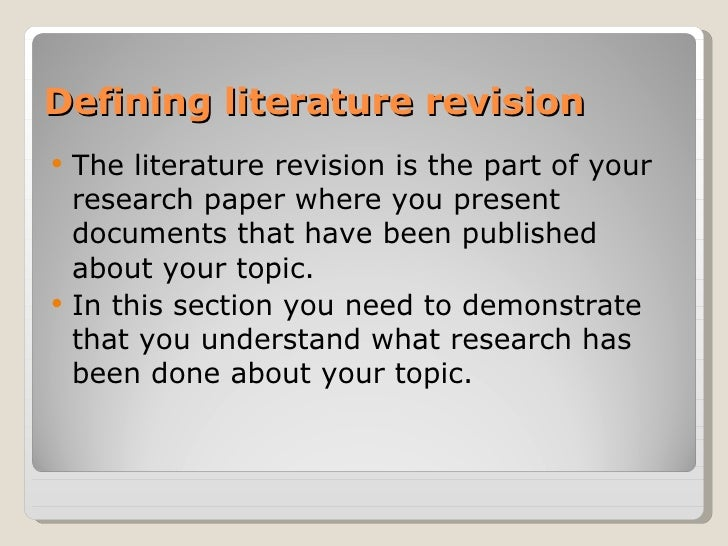 How To Write A Literature Revision Slide 2