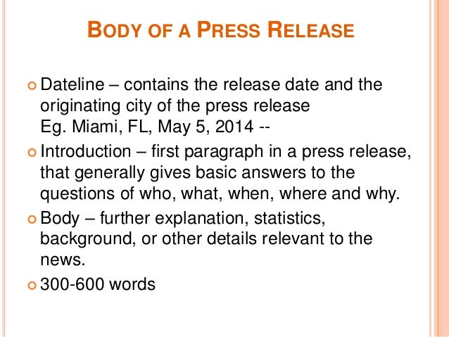 Writing a Press Release for Your Book