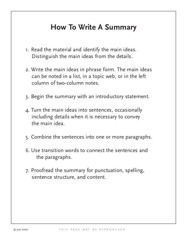 how ro write a summary