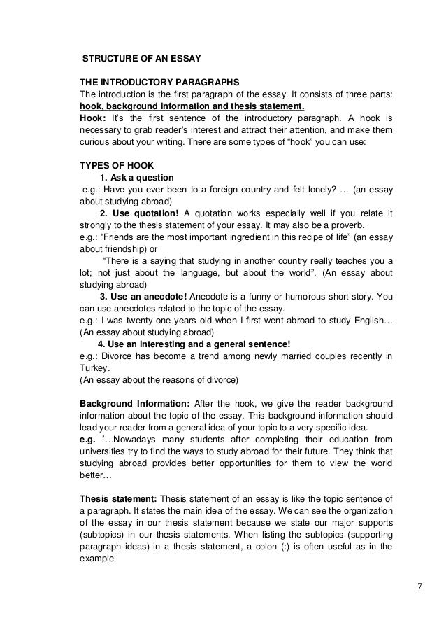 how to write an essay 7 7 structure of an essay the introductory paragraphs
