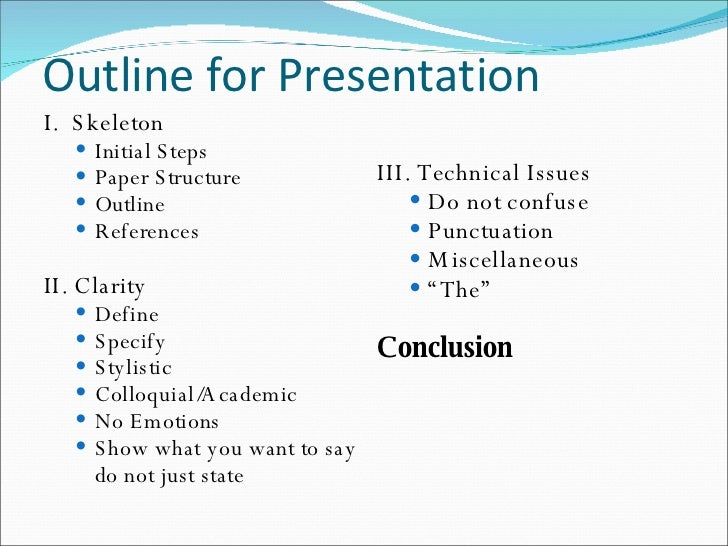 outline for presentation